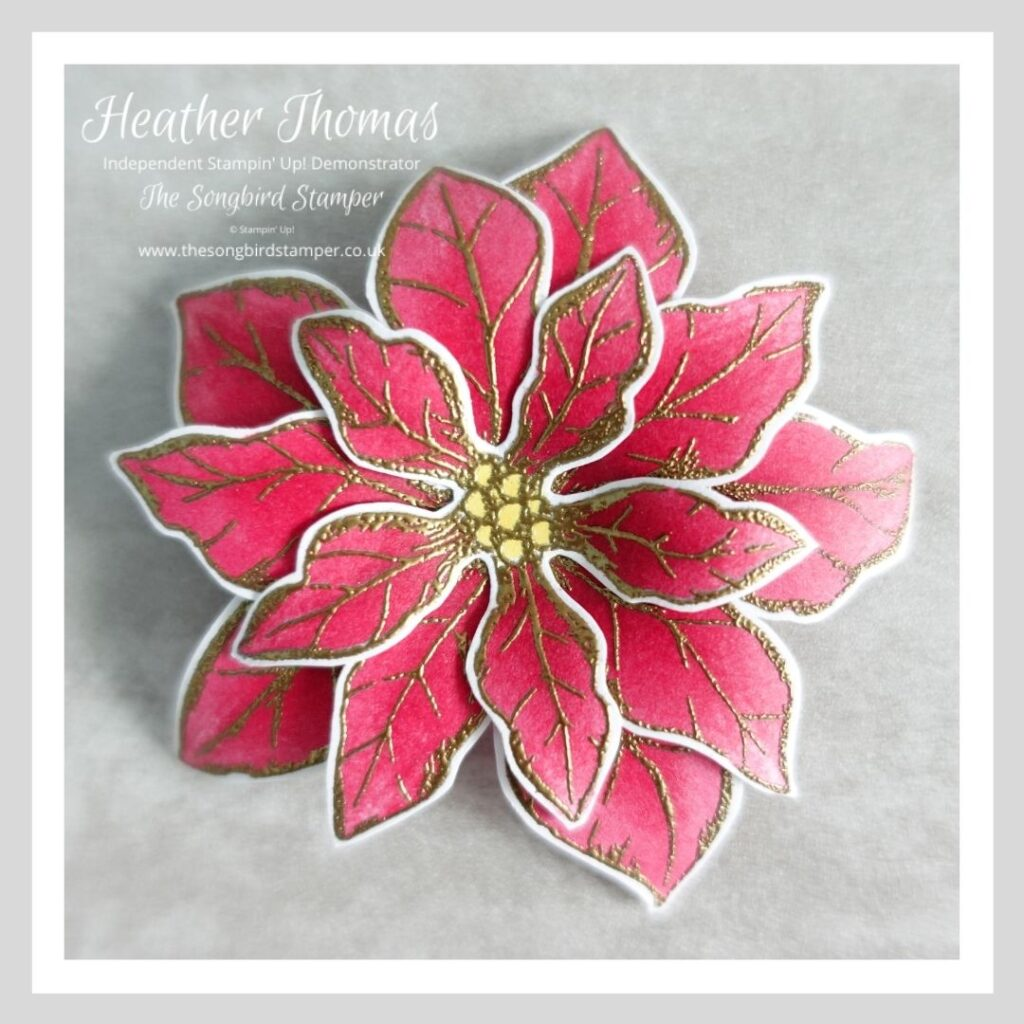 A Poinsettia coloured with alcohol markers and heat embossed in gold