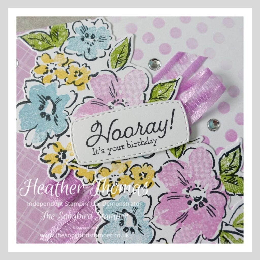A close up of a handmade card using the Hand Penned Petals stamp set from Stampin' Up!
