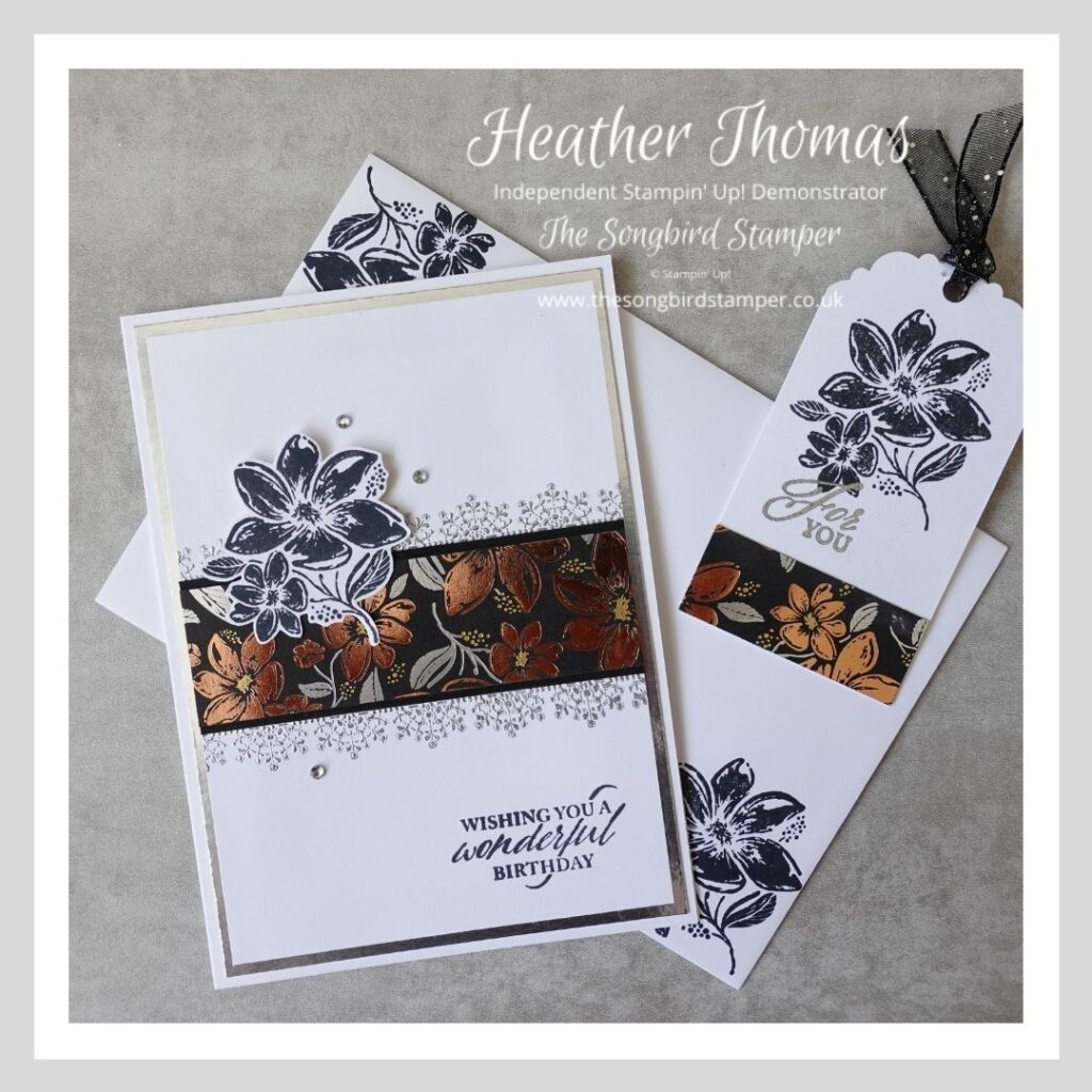 handmade card and gift tag set using the Simply Elegant suite from Stampin' Up!
