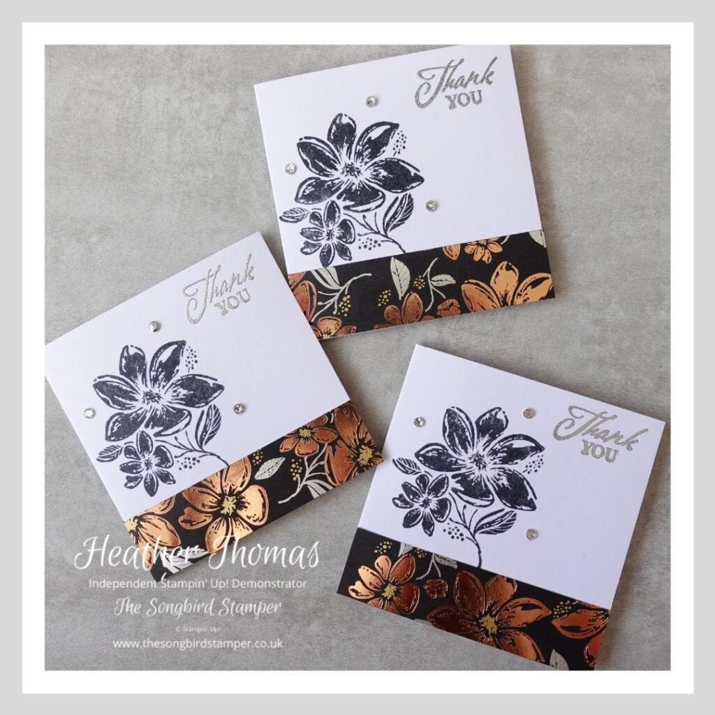 """a trio of 3"""" x 3"""" cards which make part of a handmade card and gift tag set, in black and metallics"""