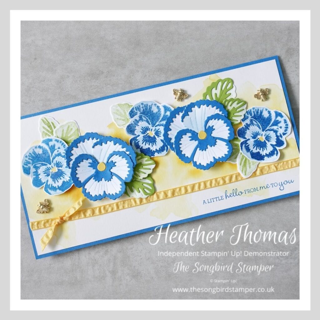 A card with blue pansies made using the Stampin' Up! Pansy Dies