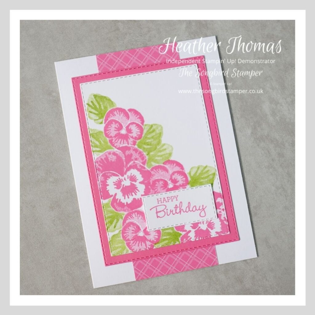 A card to demonstrate how to create a field of pink pansies, using the pansy patch stamp set from Stampin' Up!