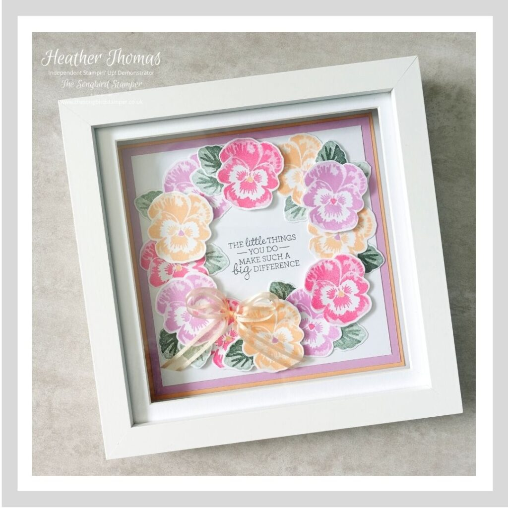 Handmade home decor, a framed wreath made using the new In Colours and Pansy Patch stamp set from Stampin' Up!