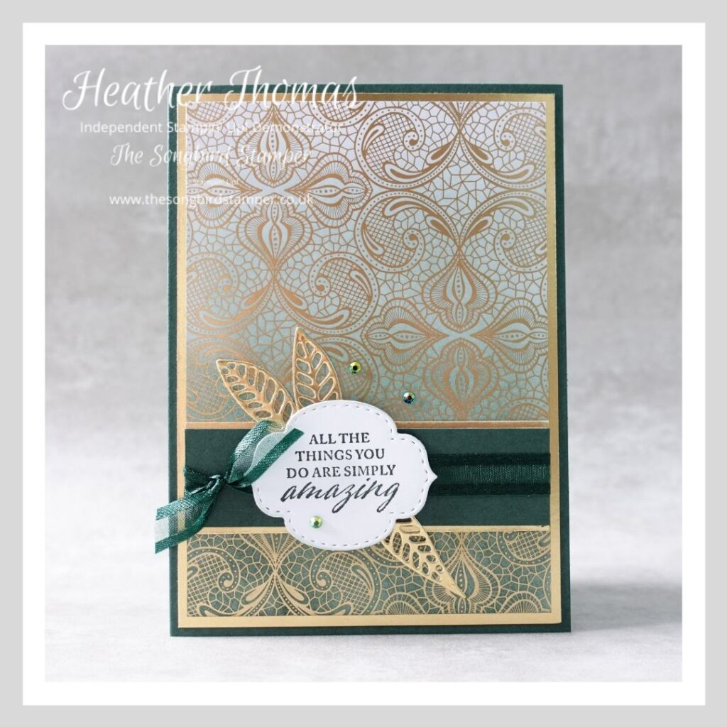 How to make cards for men. A dark green and gold handmade card