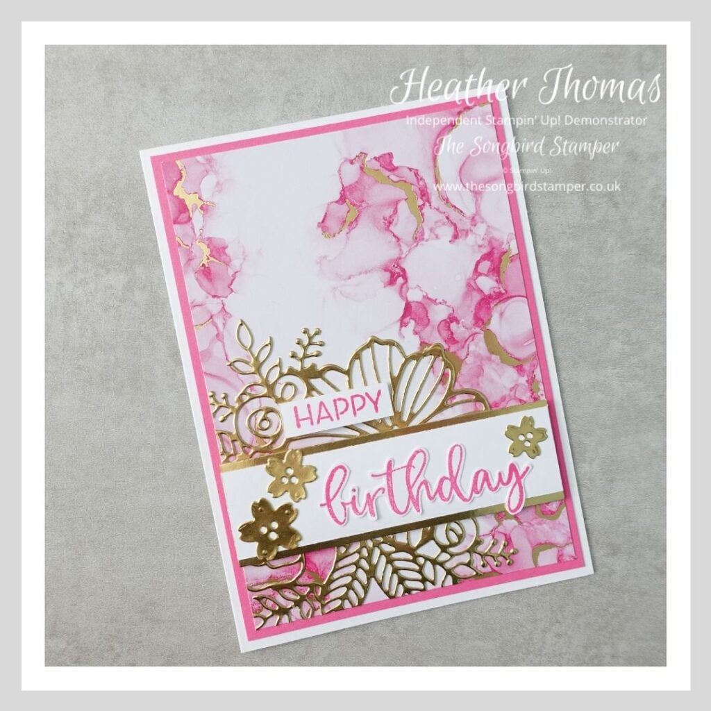 A very girly birthday card made using products from the Expressions in Ink suite from Stampin' Up!