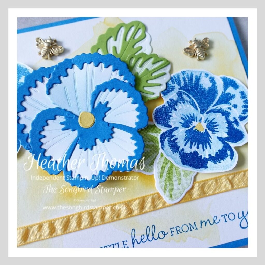 A close up showing how to assemble the Pansy Dies from Stampin' Up!