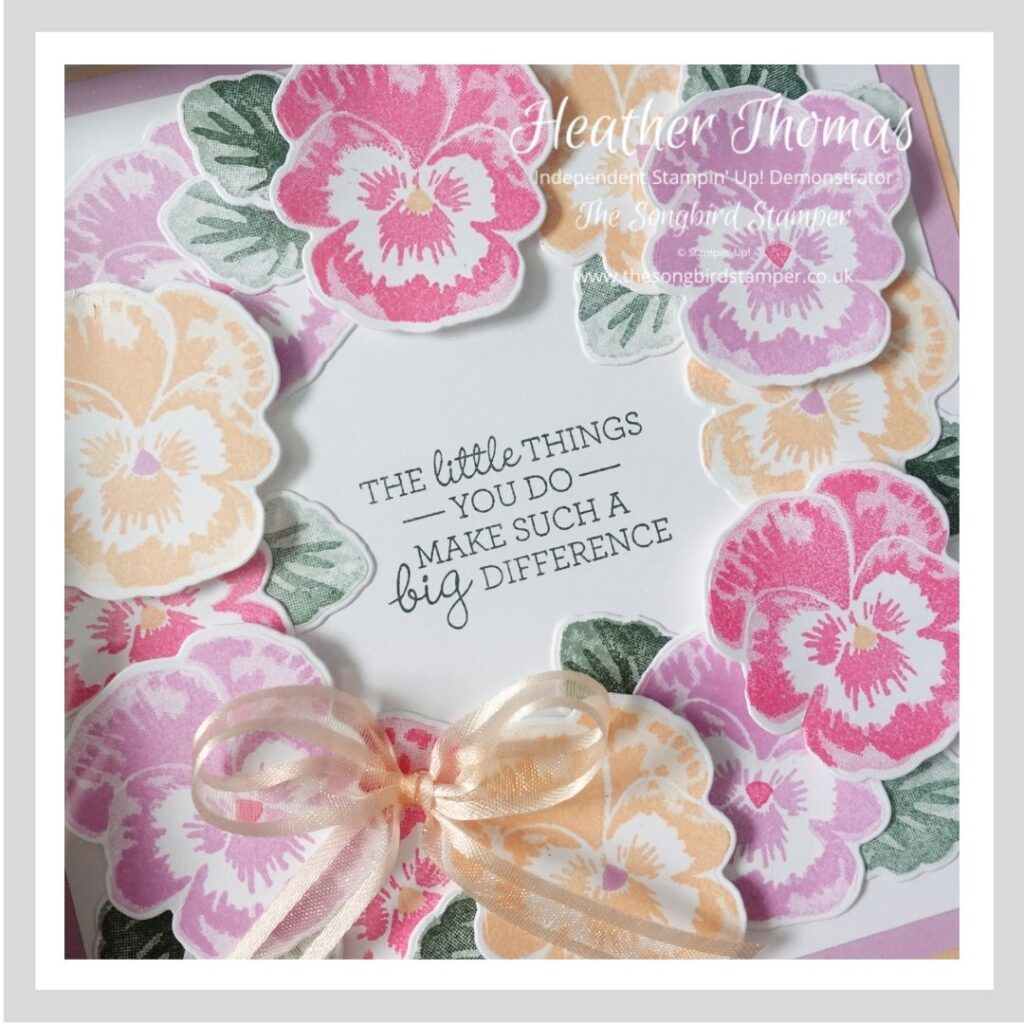 A pansy wreath, piece of handmade home decor made using the Pansy Patch stamp set from Stampin' Up!