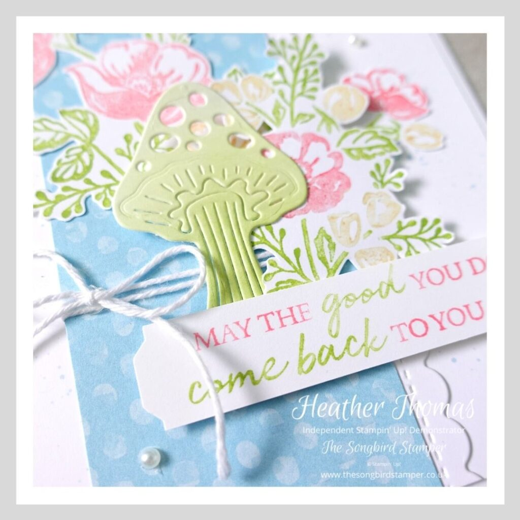 A close up of a handmade card made to demonstrate the multicolour stamping with markers technique