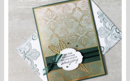 How to make cards for men. A dark green and gold handmade card and matching envelope