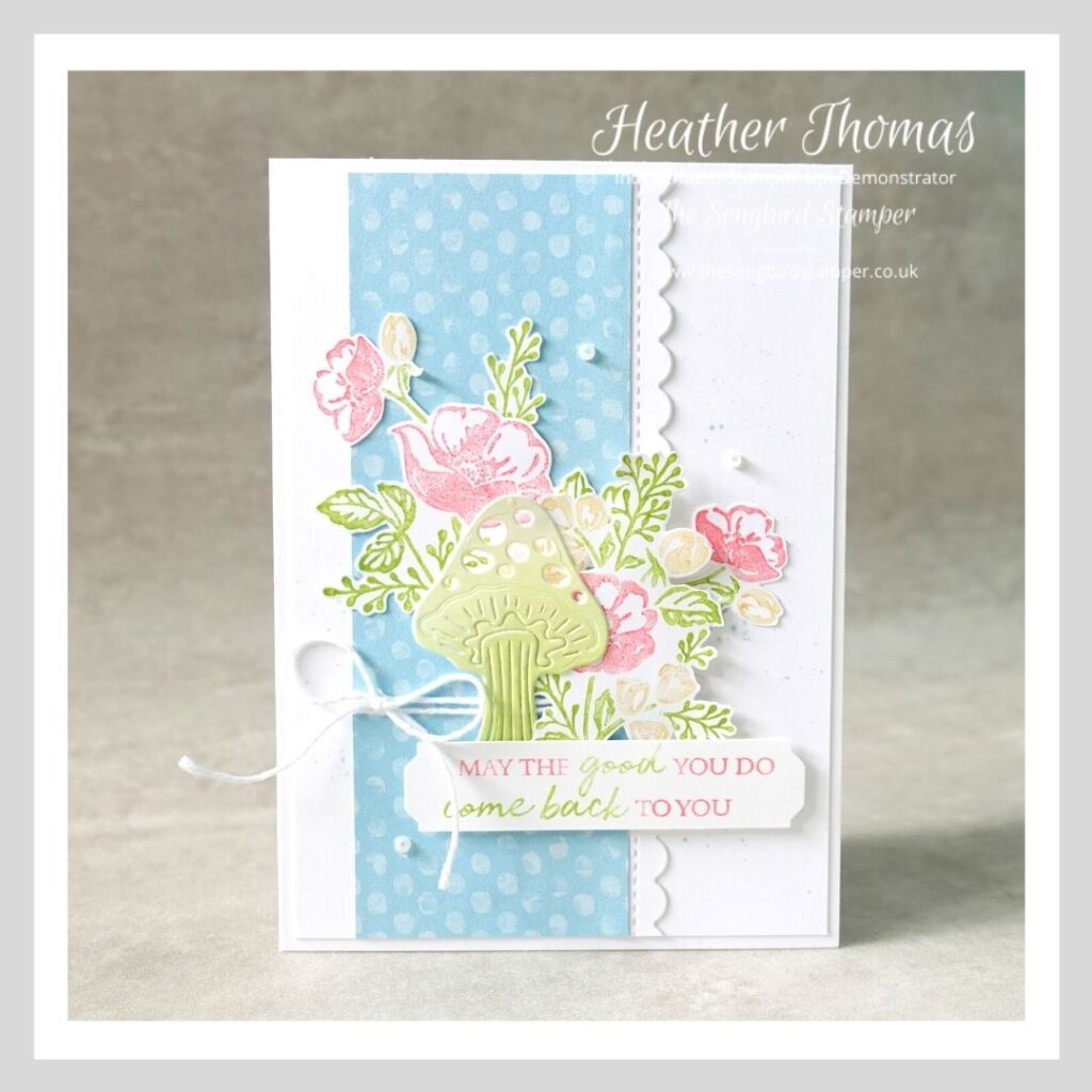 A handmade card made to demonstrate the multicolour stamping with markers technique