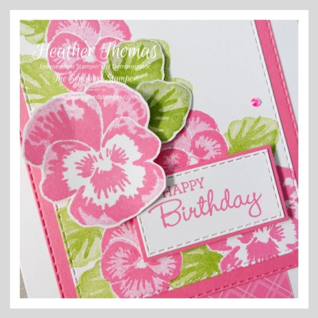 A close up of a handmade card using the Pansy Patch stamp set from Stampin' Up!