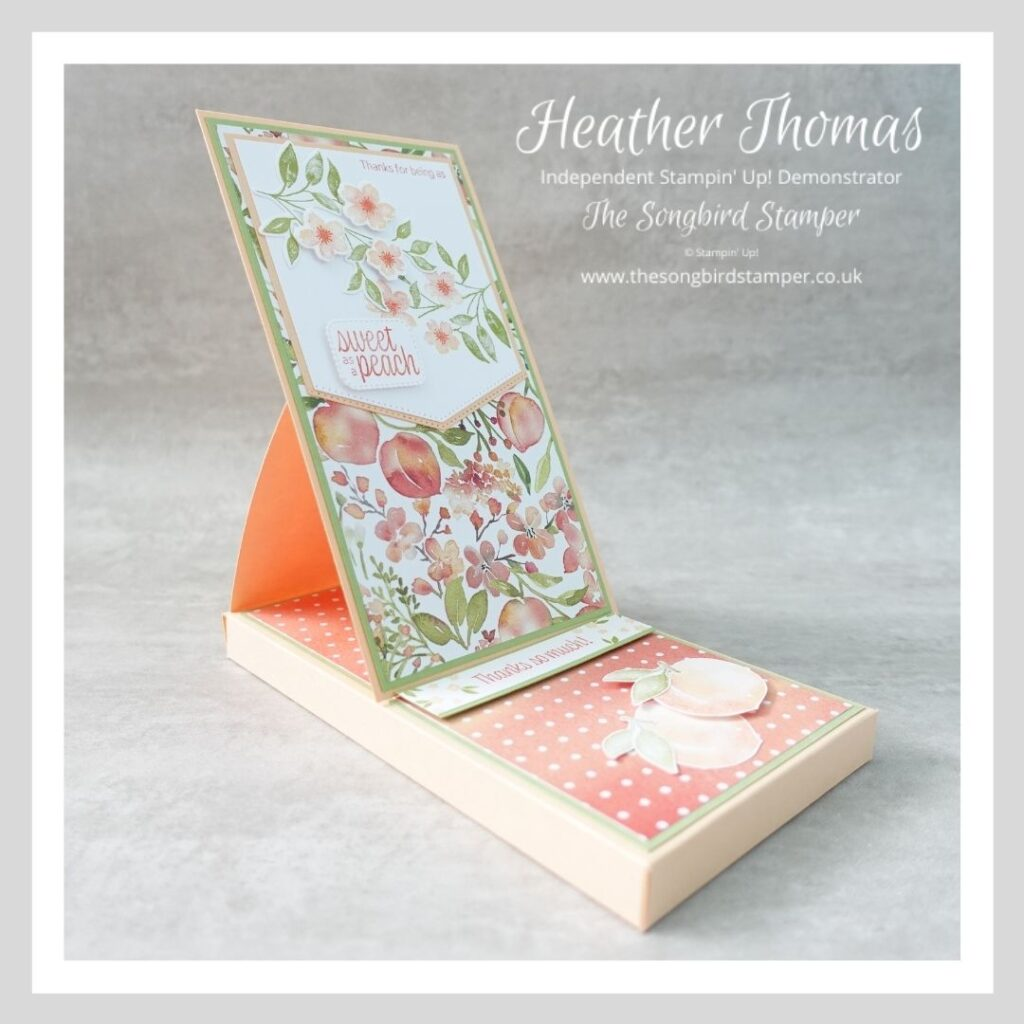 An easel box card using the Sweet as a Peach bundle from Stampin' Up!