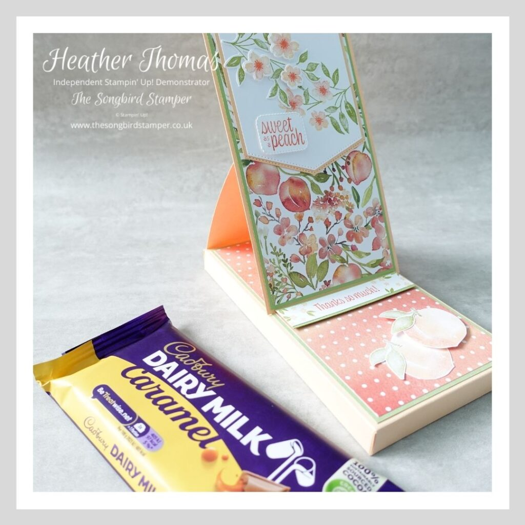 An easel box card made to gift a chocolate bar as a thank you present. Made using the sweet as a peach bundle from Stampin' Up!