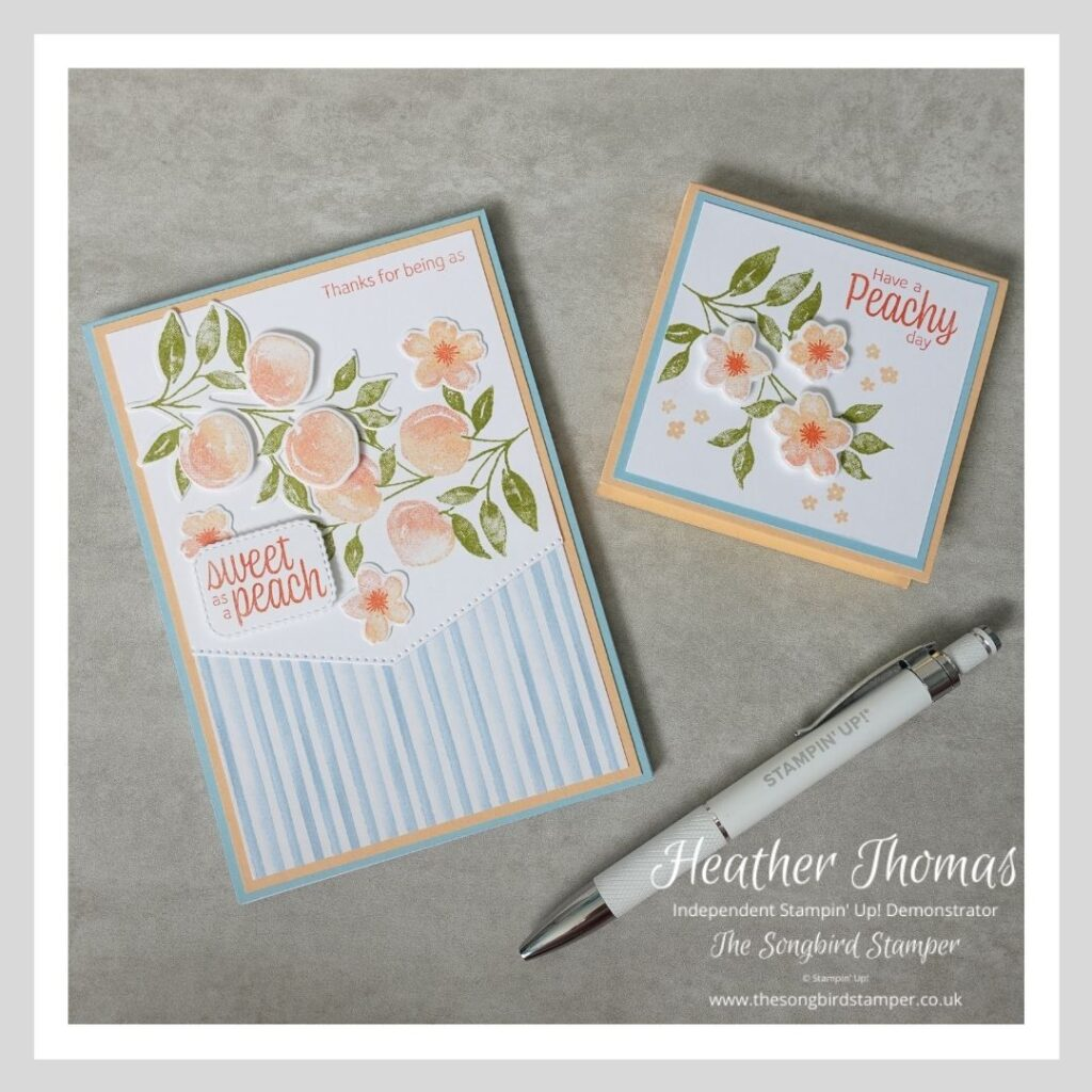 The contents of a mini stationery set made using the Sweet as a Peach bundle from Stampin' Up!
