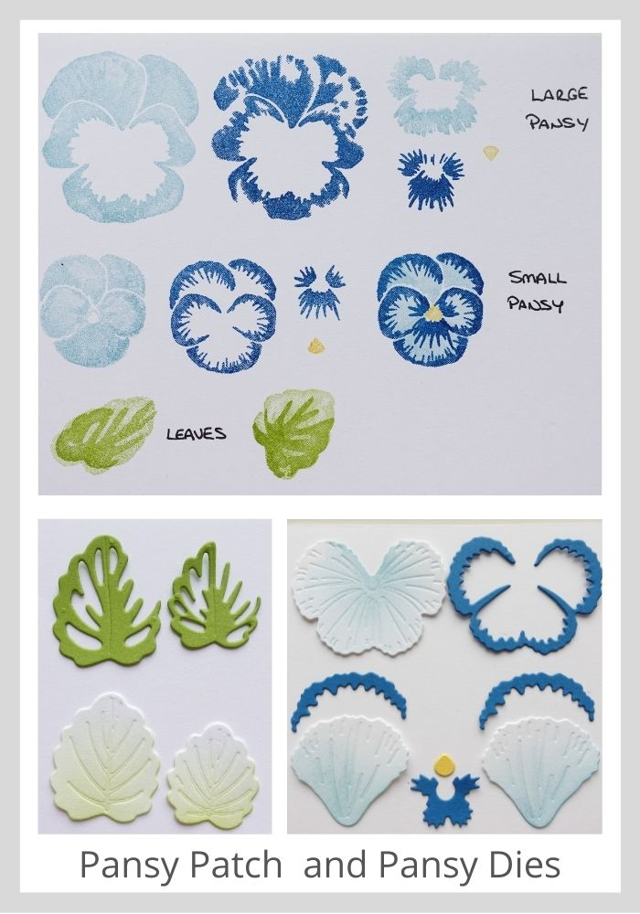 A picture showing how to use the pansy patch stamp set and pansy dies from Stampin' Up!
