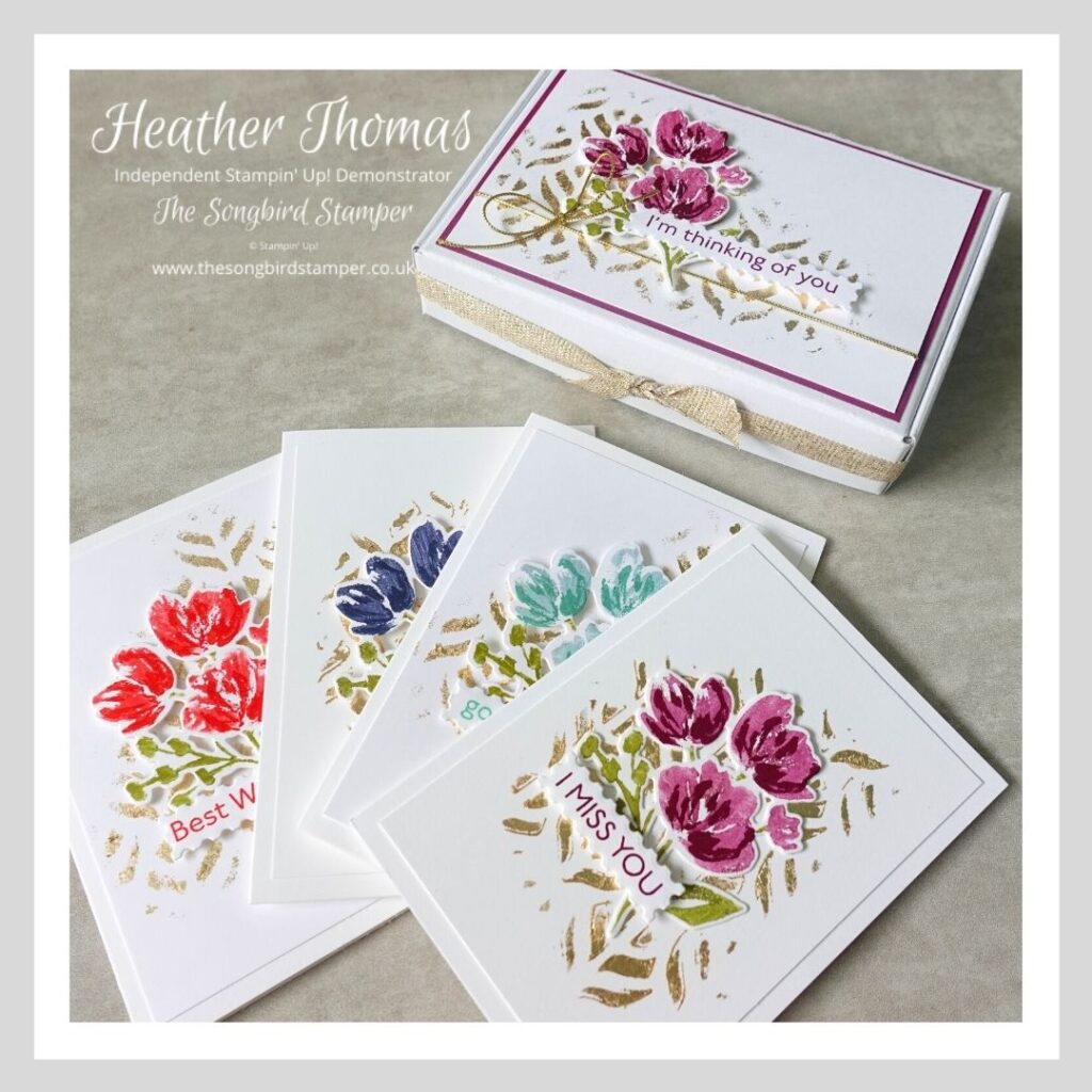 A quick and easy notecard set, with four cards and envelopes, all held in a pretty decorated box