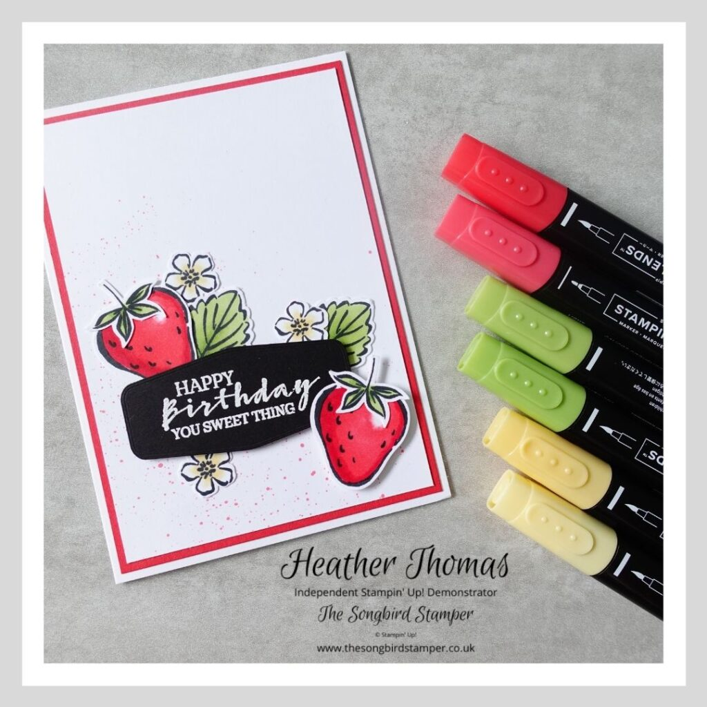A handmade card using the Sweet Strawberry stamp set and demonstrating colouring using alcohol markers