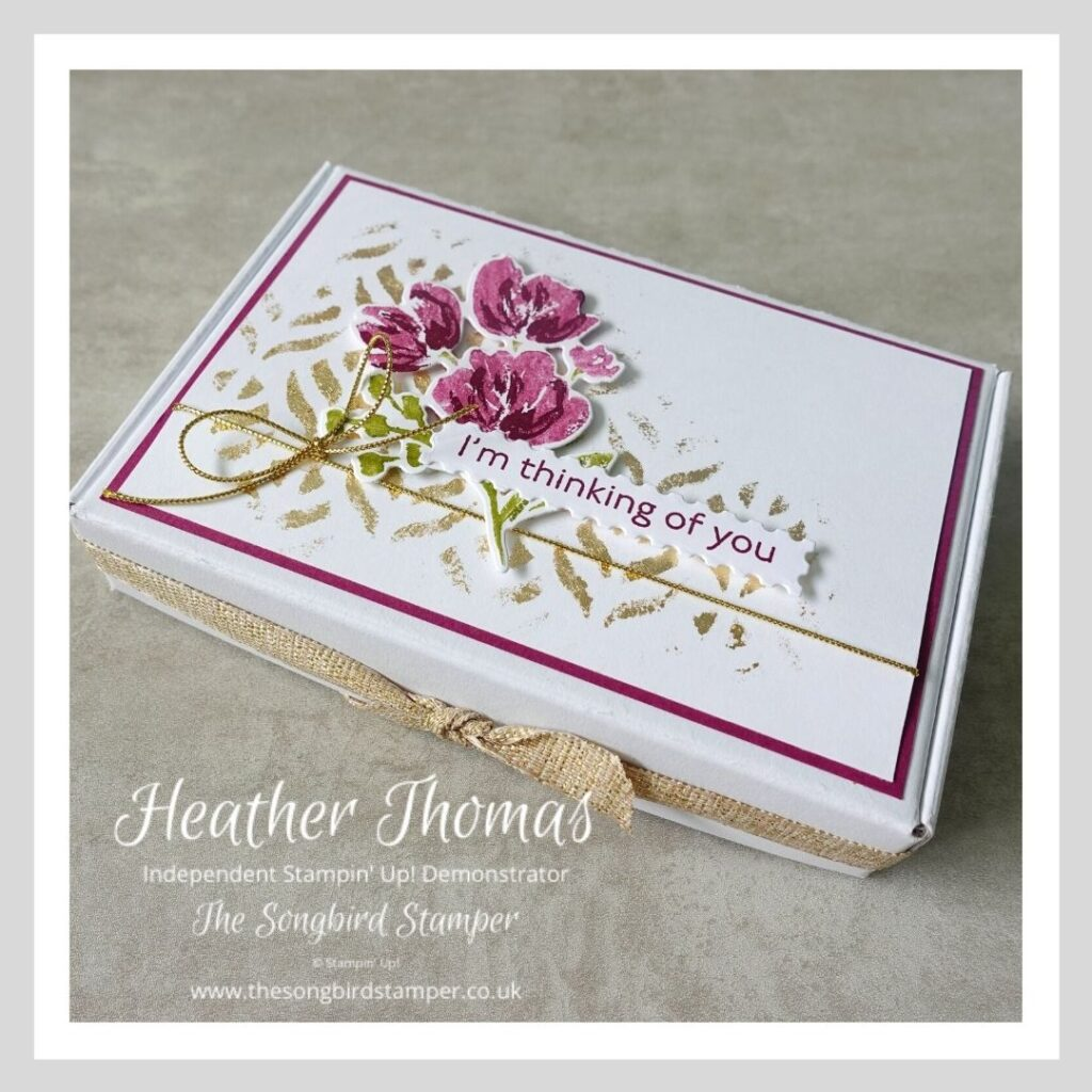 A hand decorated mini box which holds my quick and easy notecard set with envelopes