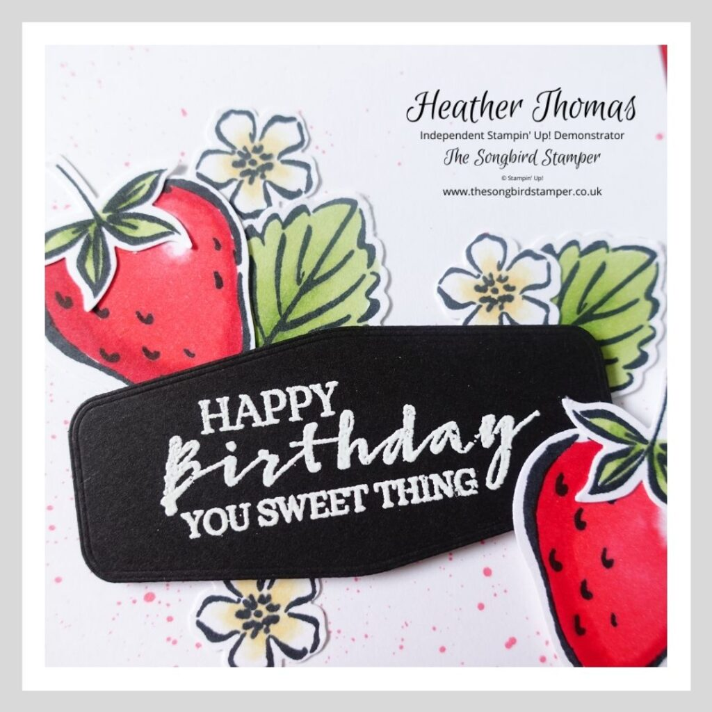 A close up of a handmade card using the Sweet Strawberry stamp set and demonstrating colouring using alcohol markers