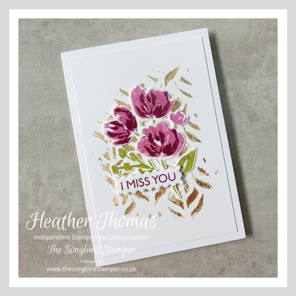 One of the four cards from my quick and easy notecard set, decorated with gilded leafing and a gorgeous flower image
