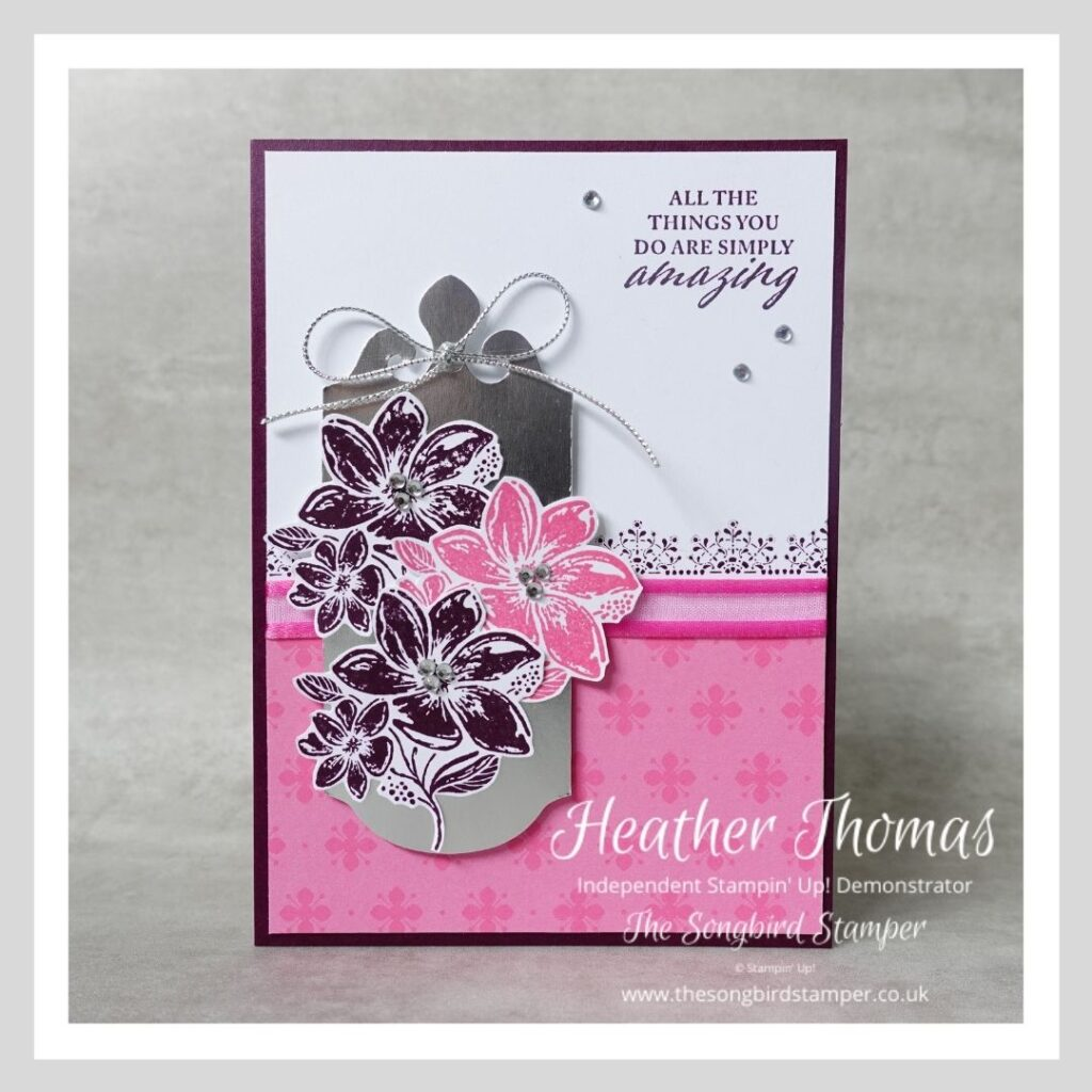 A simply elegant handmade card in pinks and purples using Stampin' Up! craft products