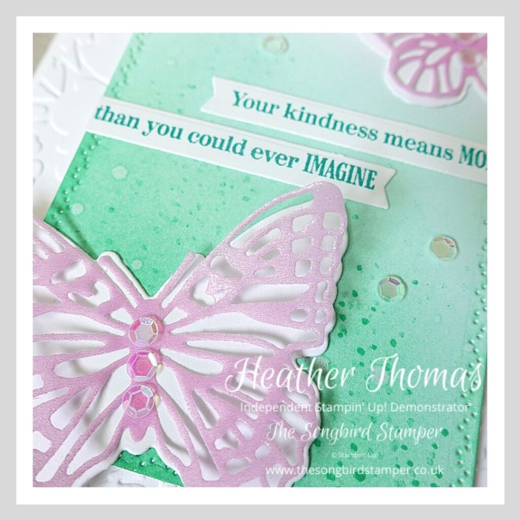 A close up of a handmade card using one of the Brilliant Blending Techniques and the Brilliant Wings dies from Stampin' Up!