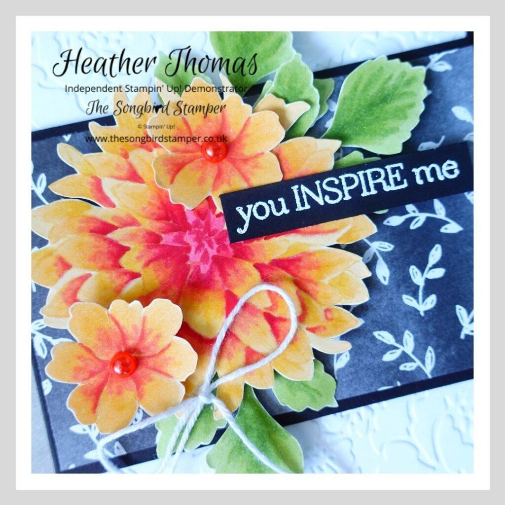 A handmade card with a Dahlia image, showcasing the no-line colouring technique