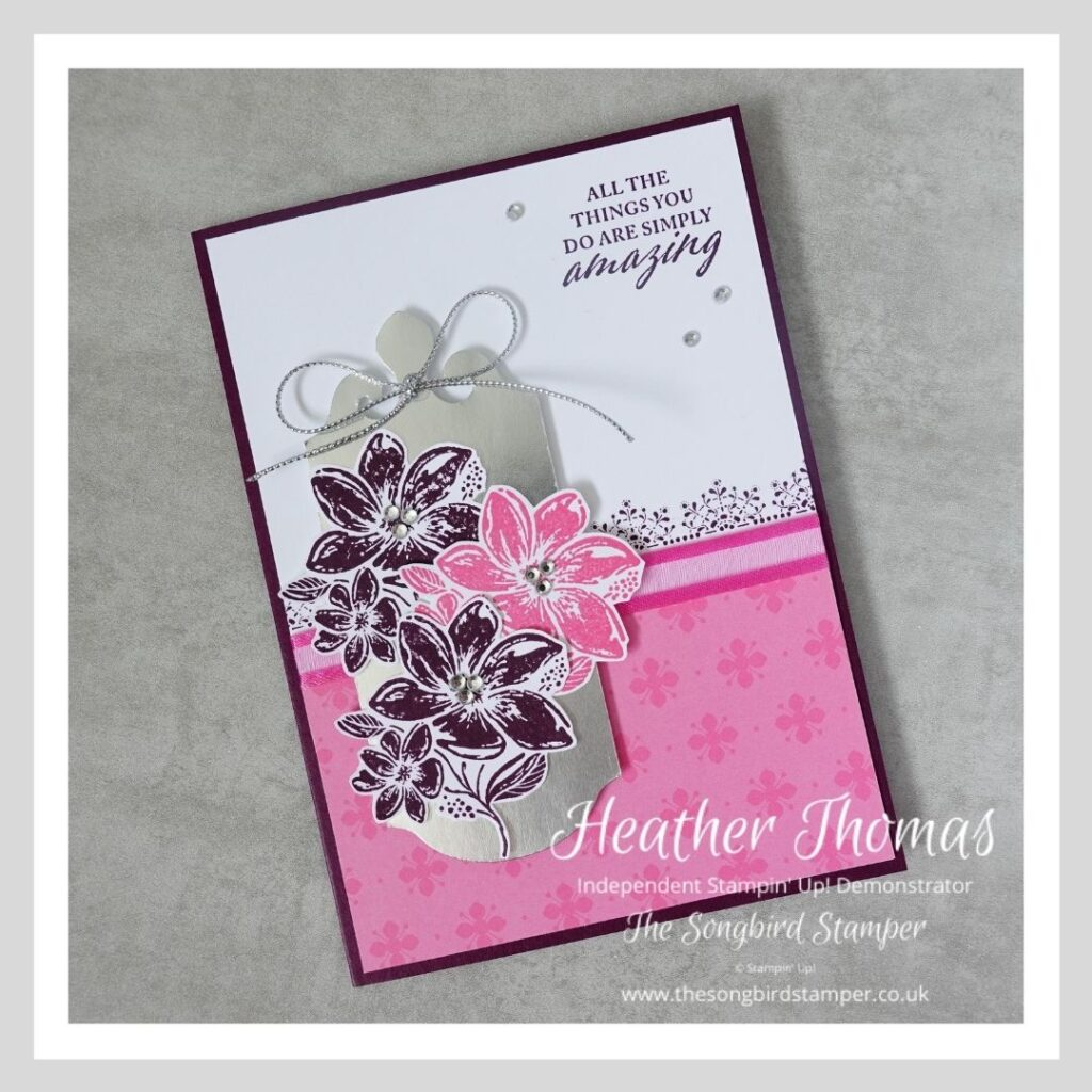 A simply elegant handmade card, in pinks and purples, using Stampin' Up! products