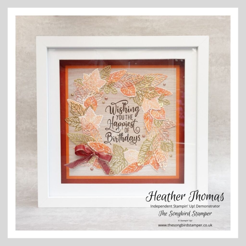 How to make handmade home decor - a picture of a framed piece of art made using the new Gorgeous Leaves bundle from Stampin' Up! in golds, oranges and reds.