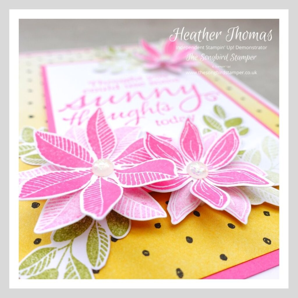 A handmade card in pink, green and yellow showing how to Use your Christmas stamps all year round