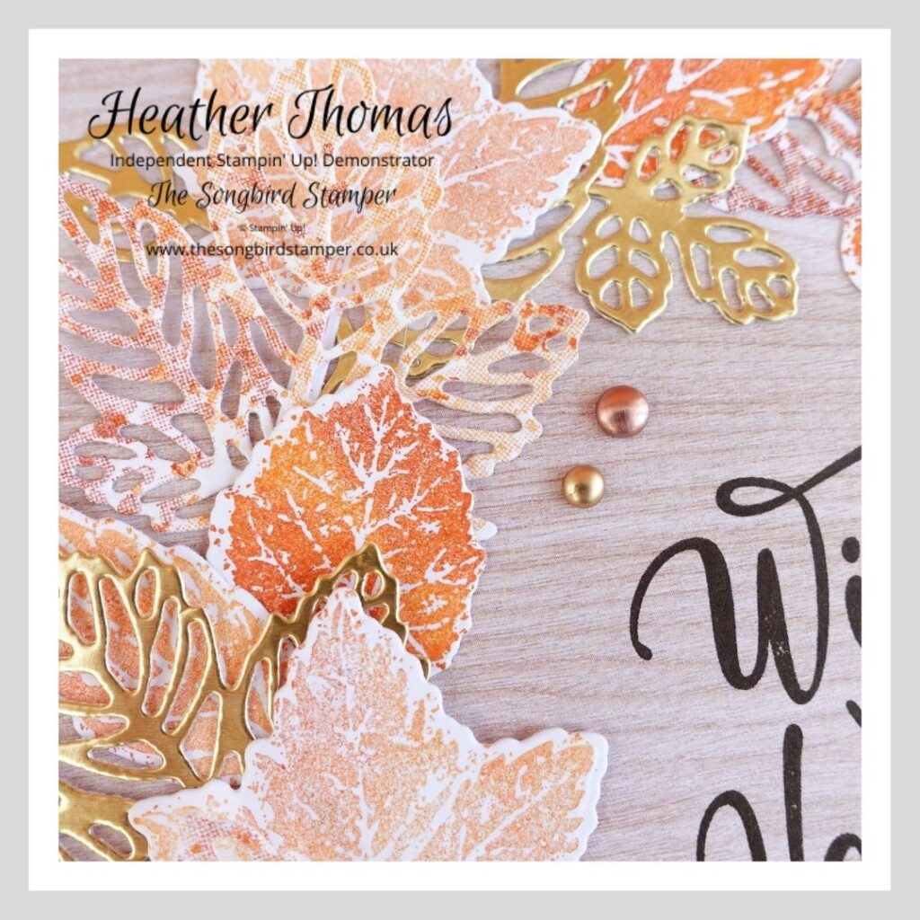 How to make handmade home decor - a close up picture of a framed piece of art made using the new Gorgeous Leaves bundle from Stampin' Up! in golds, oranges and reds.