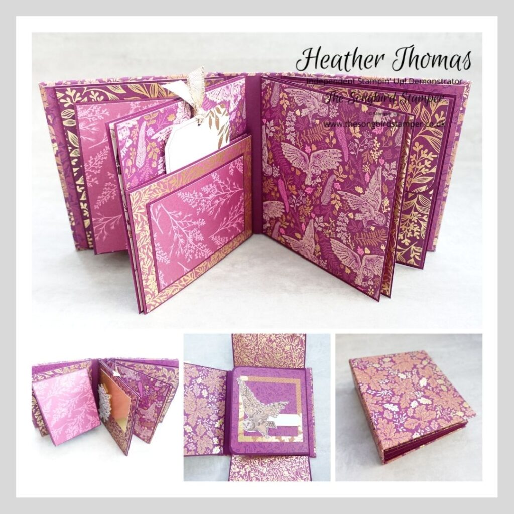 A selection of photos from my project Make a mini-album, using gorgeous purple and gold papers.