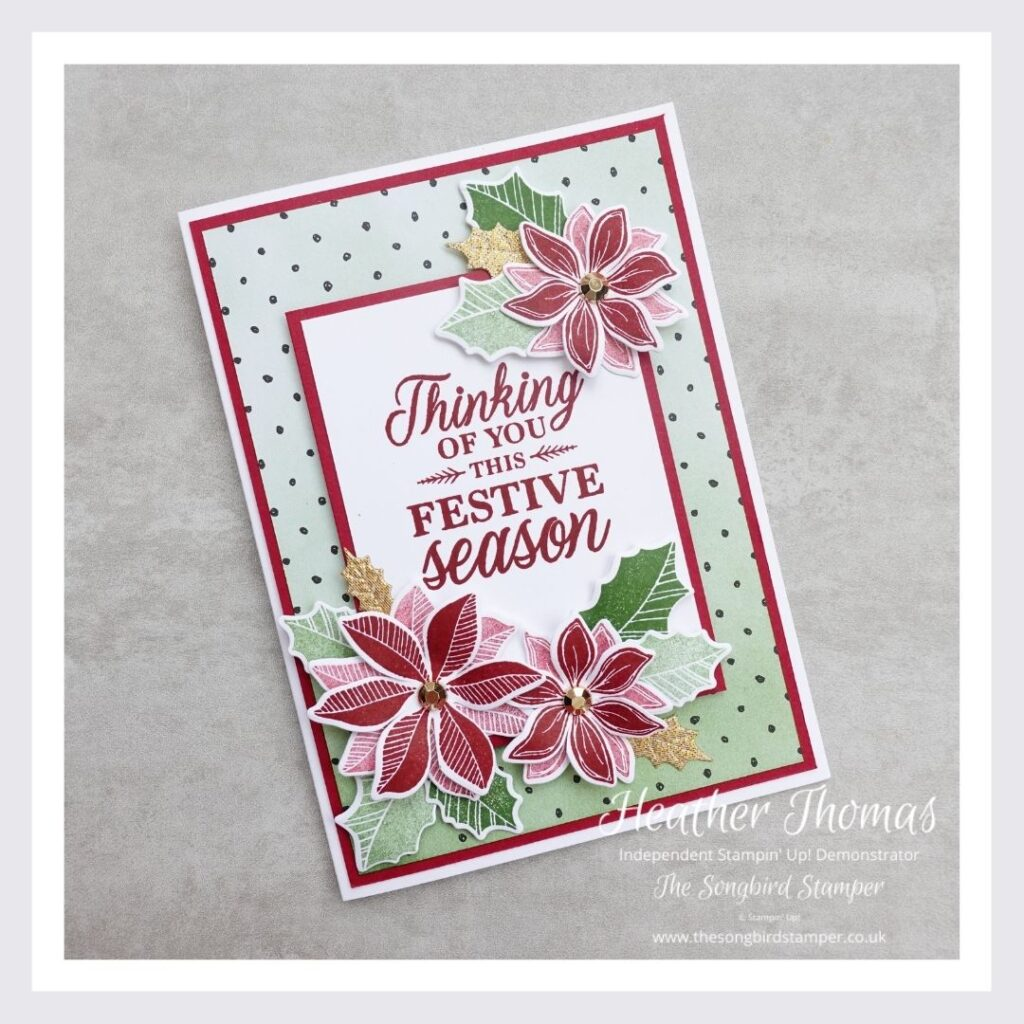 A picture of a handmade Christmas card using the Merriest Moments stamp set from Stampin' Up!