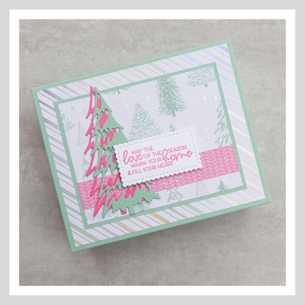 A picture of the front of the box of my cute Christmas card and tag set using the Whimsy and Wonder suite of products from Stampin' Up!