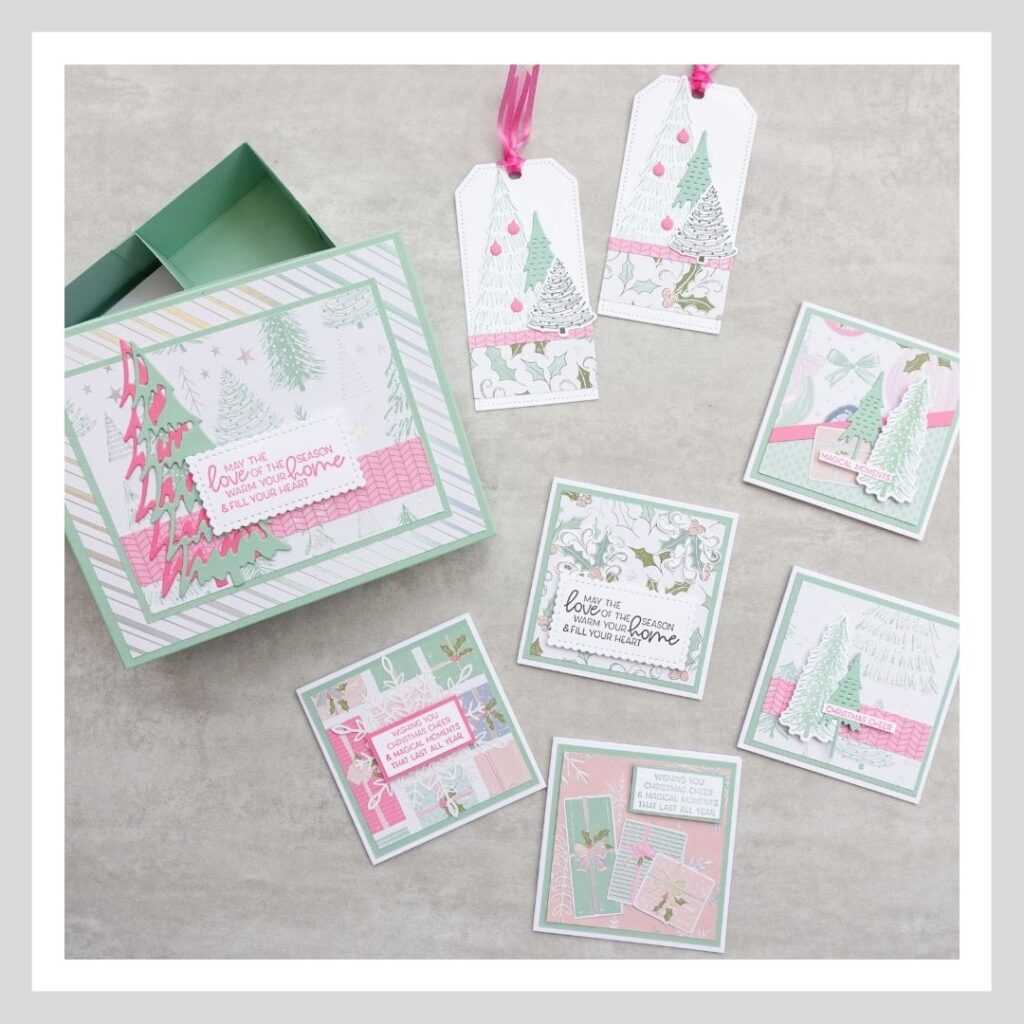 A cute Christmas card and tag set using the Whimsy and Wonder stamp set from Stampin' Up!