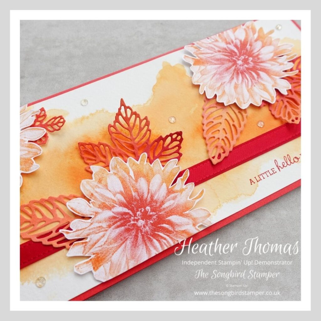 A handmade card you can send to say hello to a friend - using reds and oranges and using cardmaking supplies from Stampin' Up!