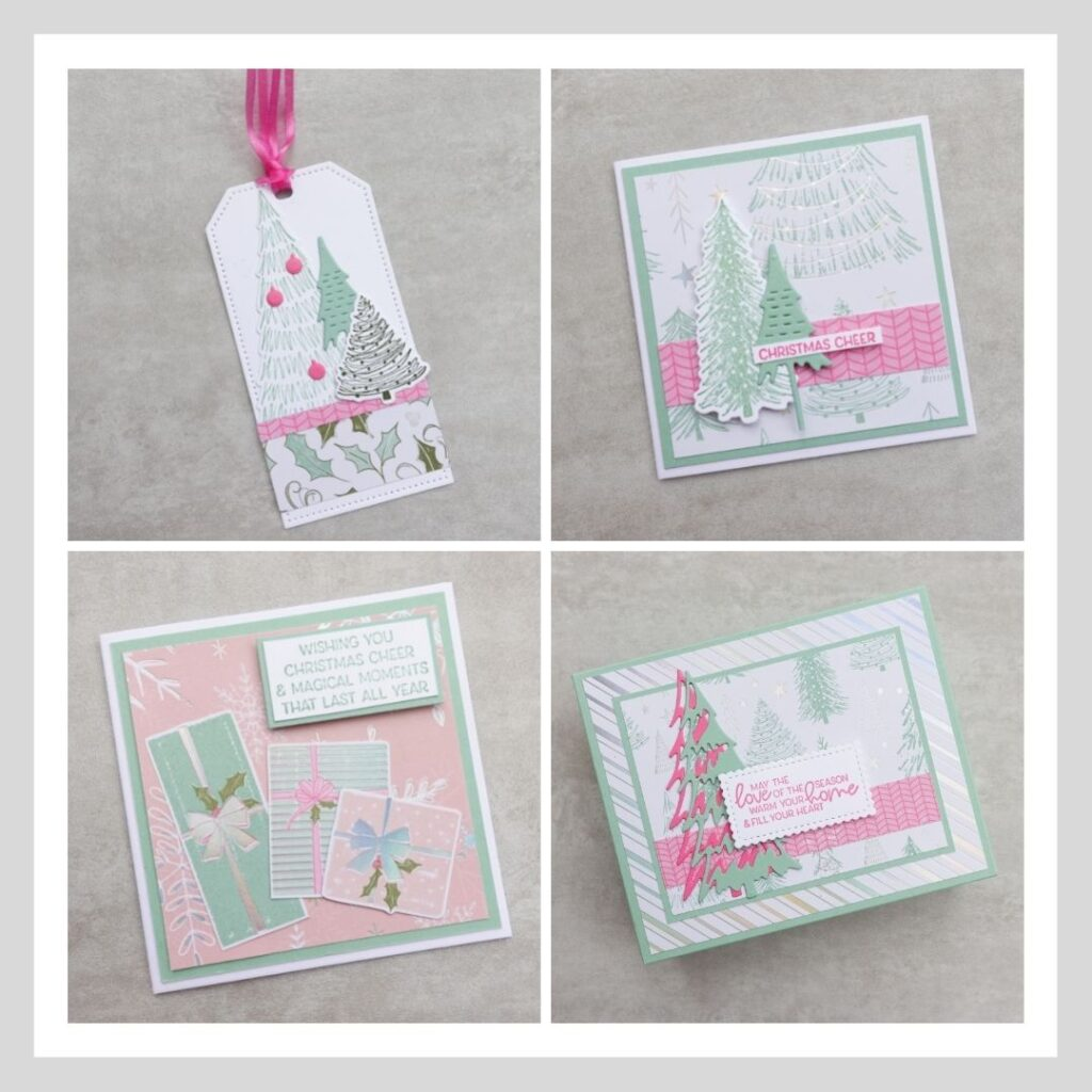A selection of images from my cute Christmas card and tag set project
